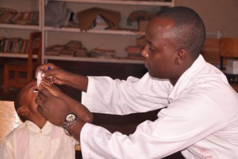 Rwanda eye drops administered